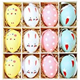 Coxeer Easter Egg, 12Pcs Easter Hanging Ornament Painting Chicken Rabbit Egg for Easter Decor Multicolor
