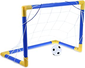 Zorbes Mini Football Soccer Goal Post Net Set with Pump Kids Sport Toy (Blue and Yellow)