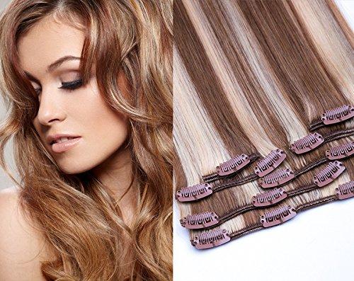 Clip In Extensions Set von GlamXtensions für eine komplette Haarverlängerung 100% Remy glattes Echthaar 7 teilig 80g hochwertigeres Remy Haar 40 cm in der Haarfarbe 800 Gesträhnt 12/613 Hellbraun-Hellichtblond