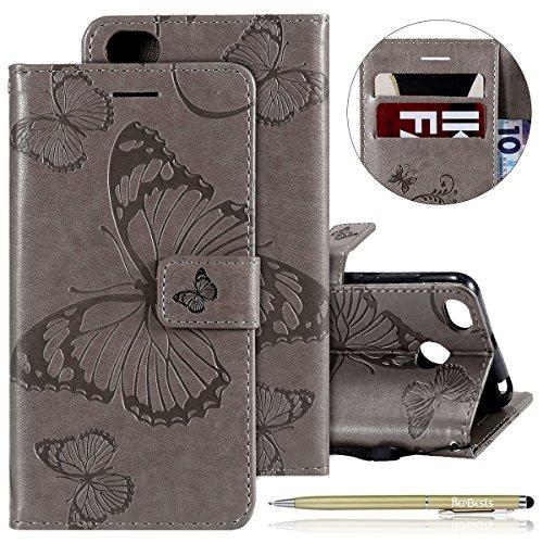Herbests Leder Handy Schutzhülle für Xiaomi Redmi 4X Lederhülle Schmetterling Muster Leder Handyhülle Handytasche Brieftasche Ledertasche Bookstyle Flip Case Cover Klapphülle,Grau