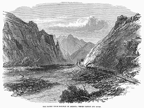 The Poster Corp Union Pacific 1869. /NA Union Pacific Railroad Train Approaching A Tunnel In Weber Canyon Utah. Wood Engraving English 1869. Kunstdruck (60,96 x 91,44 cm) (Tunnel Pacific)