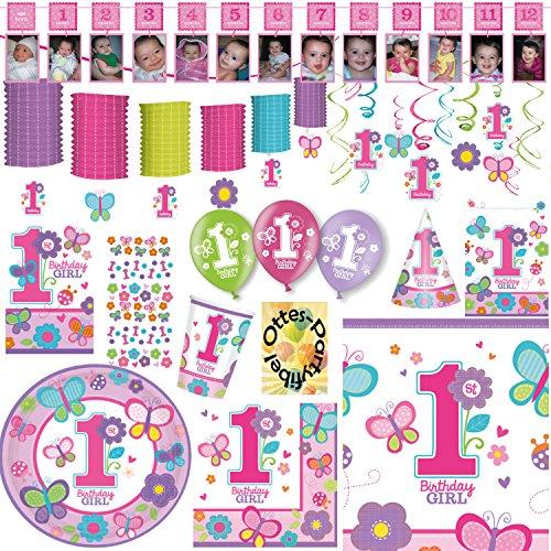 Sweet Birthday Girl 1. Geburtstag Partyset 118tlg. für 16 Gäste Teller Becher Servietten Einladungen Partytüten Tischdecke Fotogirlande Hütchen Konfetti Girlande Spiralen Luftballons (Sweet 16 Party-einladungen)
