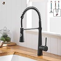 Timaco Cuisines de robinet LED avec ressort en spirale, raccords d'évier pivotants à 360 °, robinetterie de cuisine et douche coulissante - Haute pression, nickel brossé
