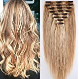 Clip in Extensions Set 100% Remy Echthaar 8 Teilig Haarverlängerung dick Dopplet Tressen Clip-In Hair Extension ( 35cm-120g,#18/613 Light Aschblond/Weißblond)