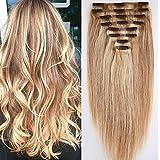 40cm-55cm Clip in Extensions Set 100% Remy Echthaar 8 Teilig 130g-160g Haarverlängerung dick Dopplet Tressen Clip-In Hair Extension ( 55cm-160g,#18/613 Light Aschblond/Weißblond)