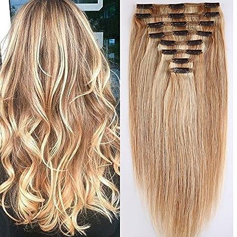Clip in Extensions Set 100% Remy Echthaar 8 Teilig Haarverlängerung dick Dopplet Tressen Clip-In Hair Extension ( 35cm-120g,#18/613 Light Aschblond/Weißblond)