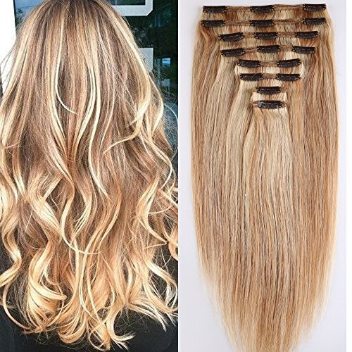 40cm-55cm Clip in Extensions Set 100{fa7c4a46d1edcb8e29684f131a0f7d99cad26e4a92b37f5d7f0f1ef73cb9fc63} Remy Echthaar 8 Teilig 130g-160g Haarverlängerung dick Dopplet Tressen Clip-In Hair Extension ( 55cm-160g,#18/613 Light Aschblond/Weißblond)