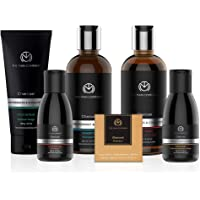Charcoal Grooming Kit By The Man Company | Packed In Elegant Wooden Gift Box | Set Of 6 - Body Wash, Shampoo, Face Scrub, Face Wash, Cleansing Gel, Soap Bar