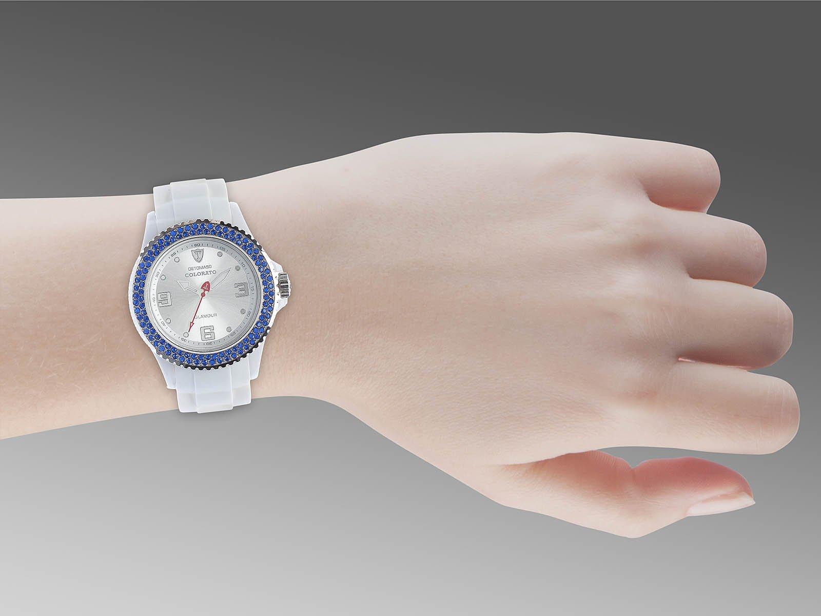 Detomaso DT3008-I – Reloj analógico de Cuarzo para Mujer con Correa de Silicona, Color Blanco