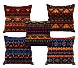 #10: Aart Rajsthani Art HD Digital Printed Fabric Cushion Covers 24x24 Set of 5 with Filler, Multicolor