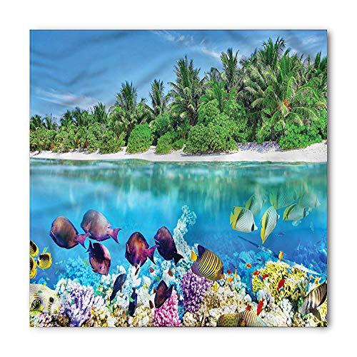 MSGDF Island Bandana, Aquatic World Maldives, Unisex Bandana Head and Neck Tie Neckerchief Headdress Silk-Like 100% Polyester Tie Neck Silk Dress