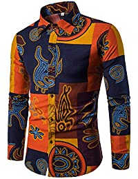 BUSIM Men's Long Sleeve Shirt Top Casual Business Slim Solid Color Pleated Print T-Shirt Top Comfortable Breathable...