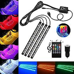 Auto LED-Innenleuchten, USB 4x 12LED Neonlicht von Goldfox mit Klangaktivierung zur Auto Dekoration für den Fußraum, mit Dual-USB-Ladegerät für das Auto