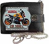 HONDA Cb1000r Repsol Bild auf KLASSEK Marken RFID Herren Geldbörse Portemonnaie Echtes Leder mit Kette Motorrad Bike Zubehör Geschenk mit Metall Box NICHT OFFIZIELLE HONDA Produkte