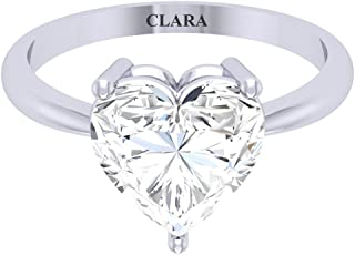 Clara 92.5 Sterling Silver White Gold Plated Heart Diamond Cut Zirconia Solitaire Ring for Women & Girls