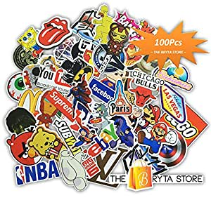 MEGA Cool Graffiti Stickers Decals Vinyls | Pack of 100 Finest Quality | Perfect To Personalize Laptops, Skateboards, Luggage, Cars, Bumpers, Bikes, Bicycles | The Bryta Store