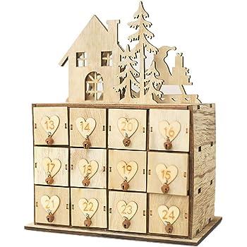 Gaeruite Christmas Wooden Advent Calendar Model Storage Box With 24