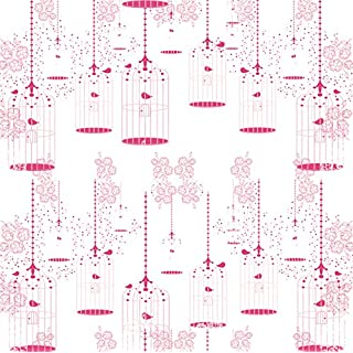 Dutch Wallcoverings 1212-6 Wallpaper Birdcase White/Pink