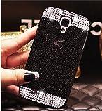 Funda para Samsung Galaxy S5,ZXK CO Carcasa Rígida Antigolpes Bling Caso Plástico PC Tapa Trasera Diseño Diamante Cristal Lujoso Fina Case Cover-Negro