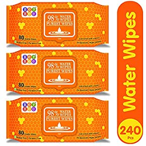 Bey Bee Water Base Baby Wipes For Sensitive Skin (3 Pack 240 Water Wet Tissue For Baby Combo With Fliptop Lid