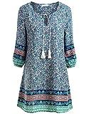 BaiShengGT Damen Tunika Strandkleid Minikleid Vintage Bohemian Kleider Blau Small