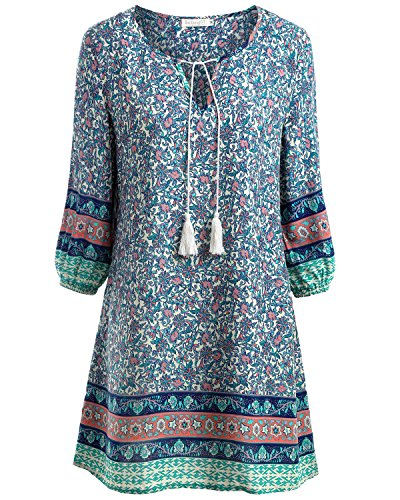 BAISHENGGT Damen Tunika Strandkleid Minikleid Vintage Bohemian Kleider Blau Medium