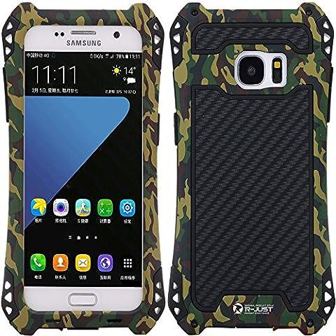S7Edge Custodia Protettiva, g-wack fibra di carbonio Premium in alluminio protezione schermo in vetro temperato 9H Full Body Custodia impermeabile antiurto Dirt prova Custodia per Samsung Galaxy S7Edge, Camouflage Series, For Galaxy S7