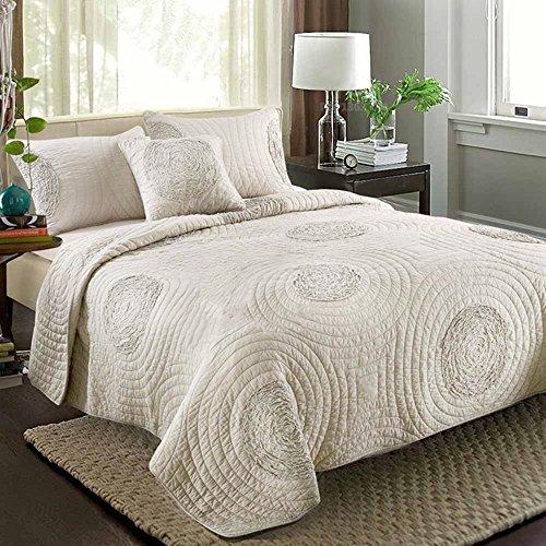 KekeHouse BettDecke Set Luxus Bettüberwurf Neu Gestickt 100% Baumwolle Solide 3D Blumen Muster Gesteppte Bettdecke 240cm x 260cm mit kissenbezüge 50 CM×70 CM (Bettdecke Bettüberwurf Set)
