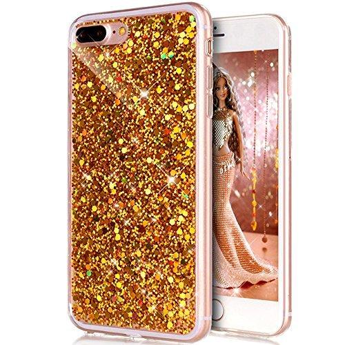 iPhone 8 Plus Cover, iPhone 7 Plus Custodia, iPhone 7 Plus / 8 Plus Custodia Silicone, JAWSEU Moda Stile Lusso Cristallo di Bling Brillante Sparkle Glitter Custodia per iPhone 7 Plus Back Cover Case U Bling Oro