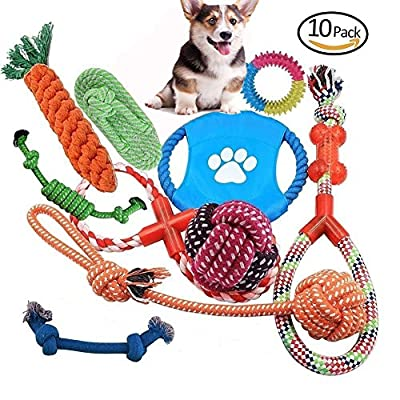 YUMOMO Dog Rope Toys, 10 PCS of Puppy Pet Braided Rope Toys Set, Puppy Chew Durable Interactive Cotton Toys Dental Health Teeth Cleaning (10 Pack) from YUMOMO