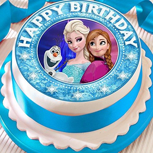 Frozen Anna Elsa Olaf Happy Birthday Bordüre vorgeschnittenen Essbarer Zuckerguss Kuchen Topper Dekoration