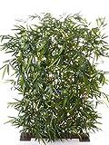 artplants Set 2 x Künstliche Bambus Sichtschutz Hecke Hiyori, grün, 120 x 170 cm - Unechter Sichtschutz/Kunstpflanzen Zaun
