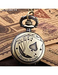 Small Size New Fashion Vintage Antique Style Holdem Royal Flush Poker Pocket Watch Unisex Mini Quartz Pocket Watch...
