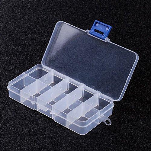 jjonlinestore- 10Fächer weiß transparent Pille Box Tablet Zubehör Ringe Perlen Craft Nail Lagerung Organizer Spender–Set von 3
