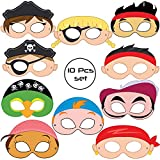 #6: WOBBOX 10 Piece Assorted Pirate Eyemasks Pirate theme party supplies Birthday Decoration masks Dress-Up Party Accessory