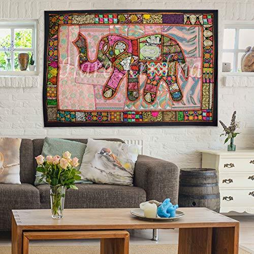 Hare Krishna Tapiz de algodón Indio Tapiz Bordado decoración Tapiz Negro 101 x 152 Cm