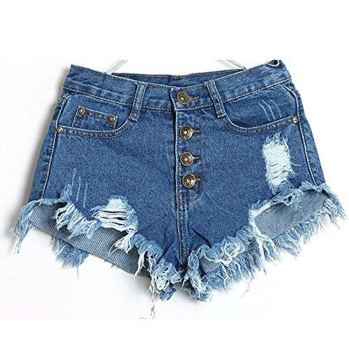 FORH Denim Mädchen Vintage Hohe Taille Denim Shorts Quaste Mini Hotpants Kurz Jeans Mode Lochjeans Kurzschlüsse Super Cool Sommer Strand kurze hosen (Dunkel blau, M) (Denim-shorts Verschönert)