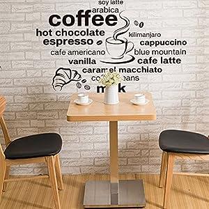 Wallpark Nero Inglese Lettere - Caffè Bevanda Nome Casa Cucina Bar Ristorante Removibile Adesivi Murali Adesivi da Parete, Soggiorno Camera da Letto Casa DIY Arte Decorativo Adesivo Murale