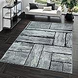 TT Home Kurzflor Teppich Preiswert Pflegeleicht Modern Holz Optik Grau Weiß Meliert, Größe:60x100 cm