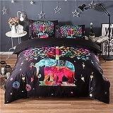 Biancheria da letto in stile etnico 3D colorato elefante e albero camera da letto copripiumino copripiumino federa set di biancheria da letto per bambini adulti genitori come un regalo,200cmx230cm+2x50cmx70cm