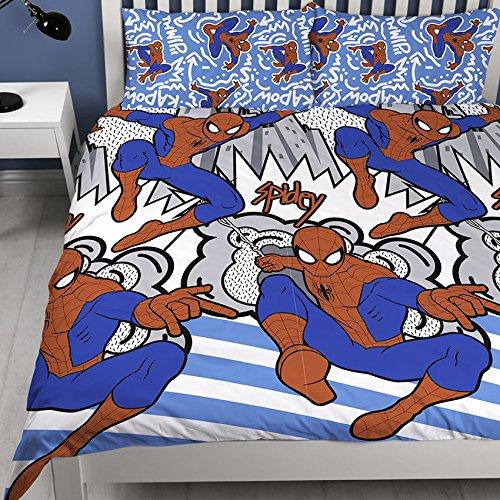 Disney the ultimate spiderman, copripiumino matrimonialecon stampa pop art, motivo a ripetizione