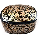 Hand Painted Authentic Kashmiri Paper Mache Craft Decorative Trinket Box |Multi Purpose Storage Like Jewellery/Cosmetics/ Men's Cufflinks/ Tie Clip Clasp/Rings/Home & Office Decoration Gifting Purpose - B079W7Z2HK