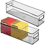mDesign Uppsättning av 2 förvaringslådor i plast med handtag – hemkontor förvaringslösningar för pennor, papper, mappar etc.