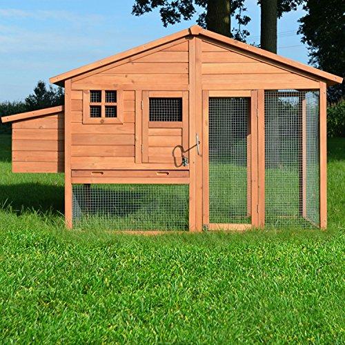"""ZooPrimus Hühner-Stall Nr 14 Geflügel-Voliere """"LUXUS-HÜHNERHAUS"""" Enten-Haus für Außenbereich (Geeignet für Kleintiere: Hühner, Geflügel, Vögel, Enten usw.)"""