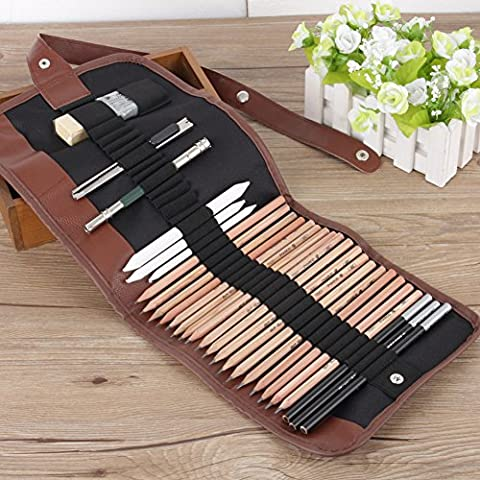 18pcs Sketching Pencil Set, Charcoal Pencil Eraser Knife Drawing Pencil Sketch Set with Canvas Pencil Bag Christmas Gift for Kid or Beginners Artist