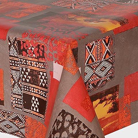 PVC Tablecloth Africa 3 Metres (300cm x 140cm), Funky Ethnic Snake Skin Leopard Cheetah Spots Safari Desert Photo Effect, Grey Red Orange Terracotta Chocolate Brown, Wipe Clean, Vinyl / Plastic Table Cloth