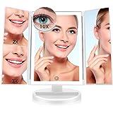 FASCINATE Espejo Maquillaje con Luz,Tríptica Aumentos 10x, 3X, 2X,1x Magnetismo Extraíble Espejo 10 Aumentos Rotación Ajustab