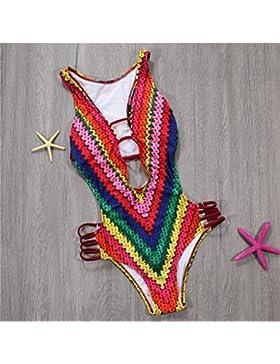 _ En traje de baño de una sola pieza. Sello Rainbow traje de baño color caramelo rocío expuestos atrás moderno...