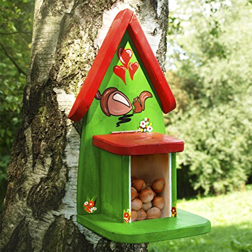Eichhörnchen Futterhaus handbemalt aus Massivholz, Futterstation, individuelle Beschriftung mit Namen