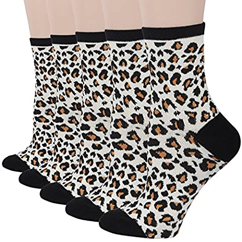RioRiva Women Spring Animal Pattern Crew Socks - Classical Casual Socks Pack of 5 (UK Women Size 7.5-9/EU 41-42, Leopard-